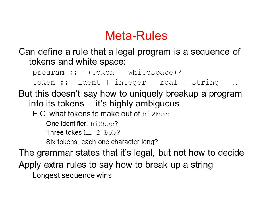 Meta-Rules Can define a rule that a legal program is a sequence of tokens and white space: program ::= (token | whitespace)*