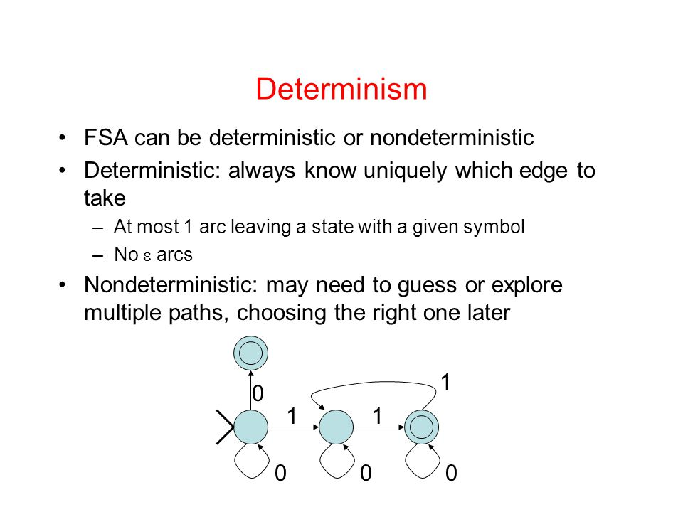 Determinism FSA can be deterministic or nondeterministic