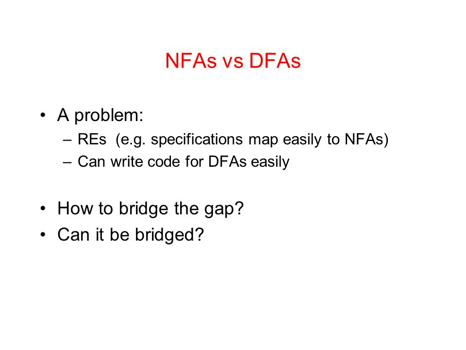 NFAs vs DFAs A problem: How to bridge the gap Can it be bridged