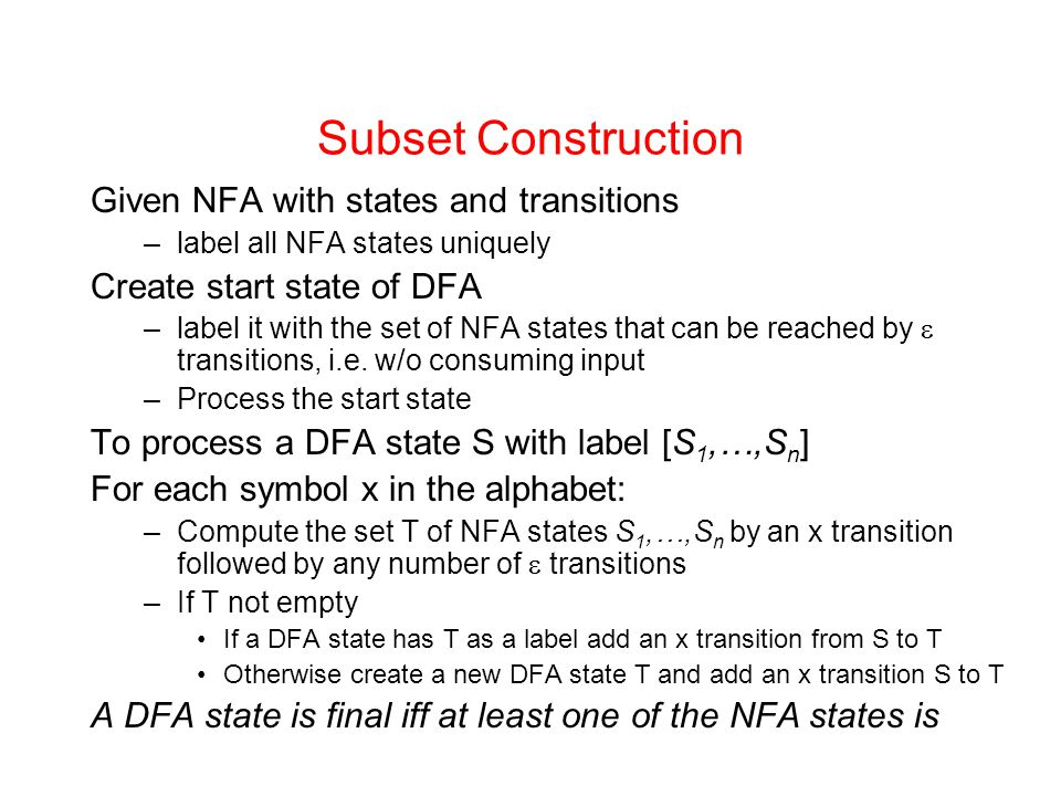 Subset Construction Given NFA with states and transitions