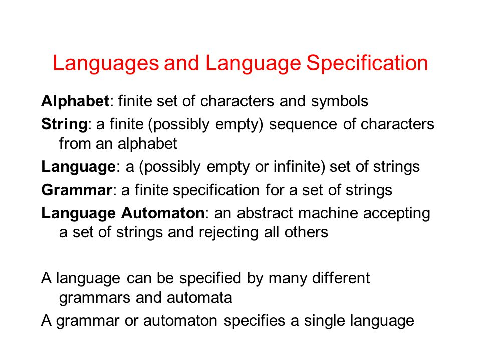 Languages and Language Specification