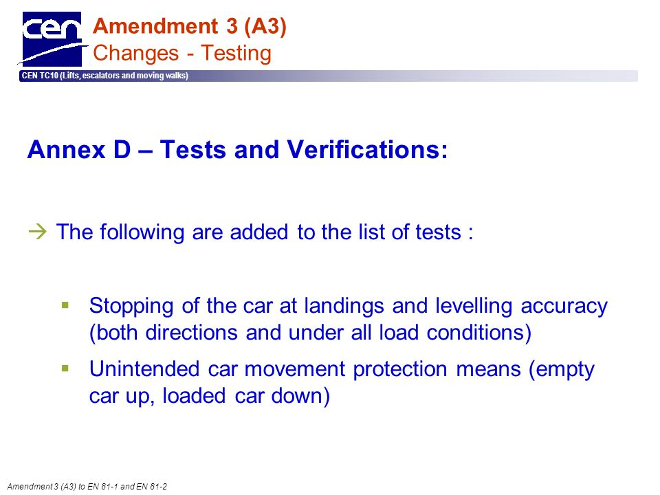 Amendment 3 (A3) Changes - Testing