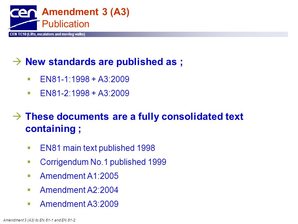Amendment 3 (A3) Publication