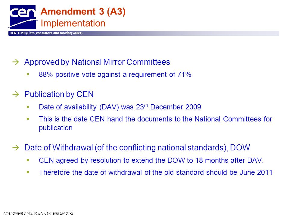 Amendment 3 (A3) Implementation