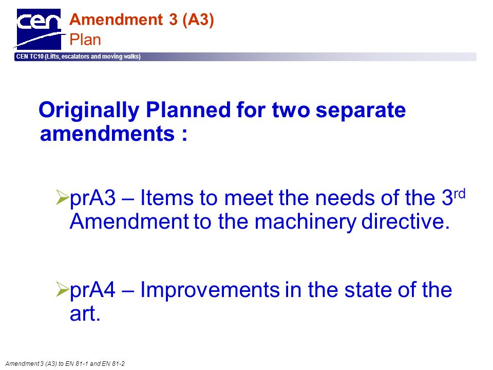 Originally Planned for two separate amendments :