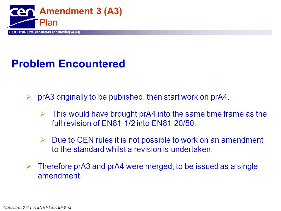 Problem Encountered Amendment 3 (A3) Plan