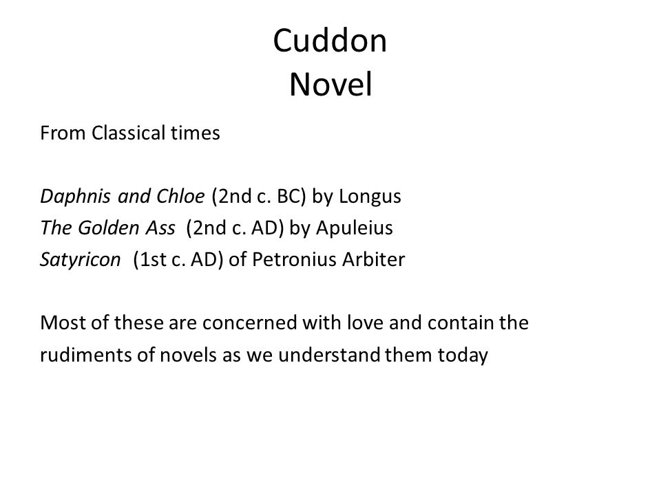 Cuddon Novel From Classical times