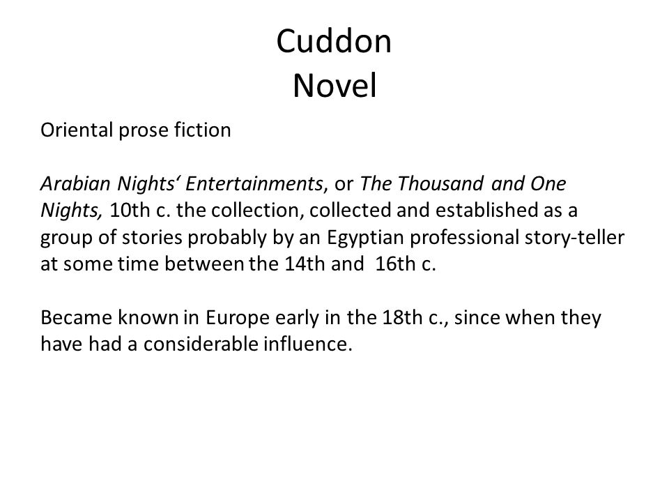 Cuddon Novel Oriental prose fiction