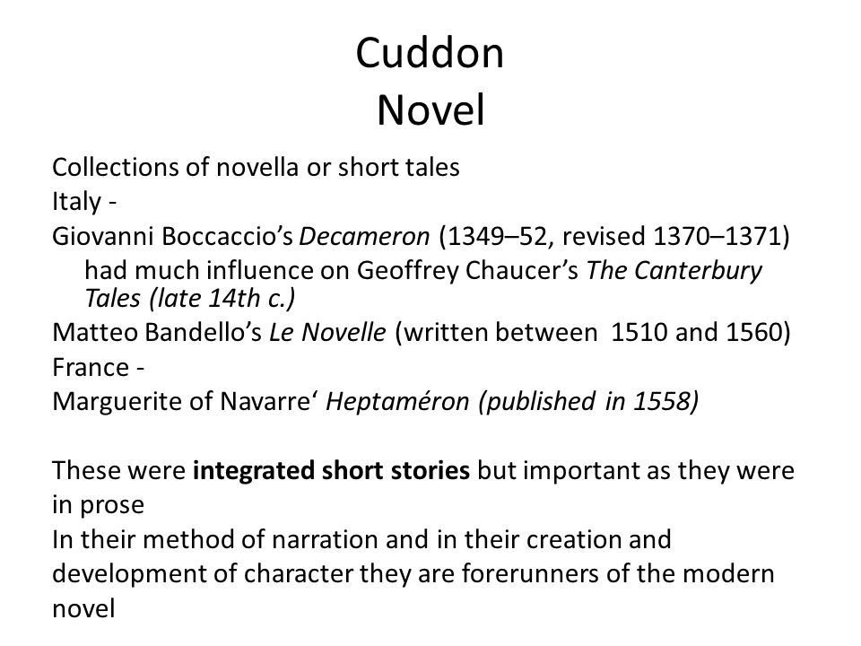 Cuddon Novel Collections of novella or short tales Italy -