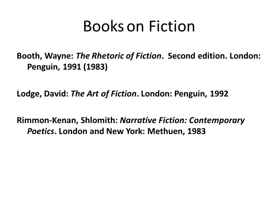 Books on Fiction Booth, Wayne: The Rhetoric of Fiction. Second edition. London: Penguin, 1991 (1983)