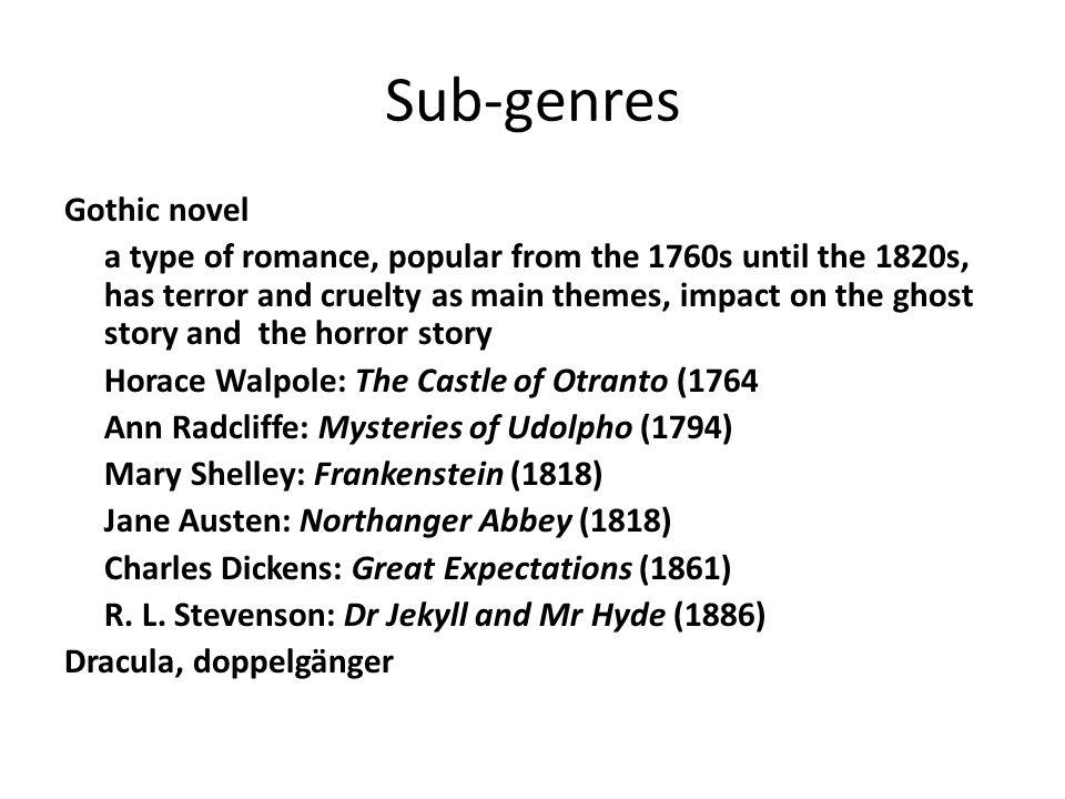 Sub-genres Gothic novel
