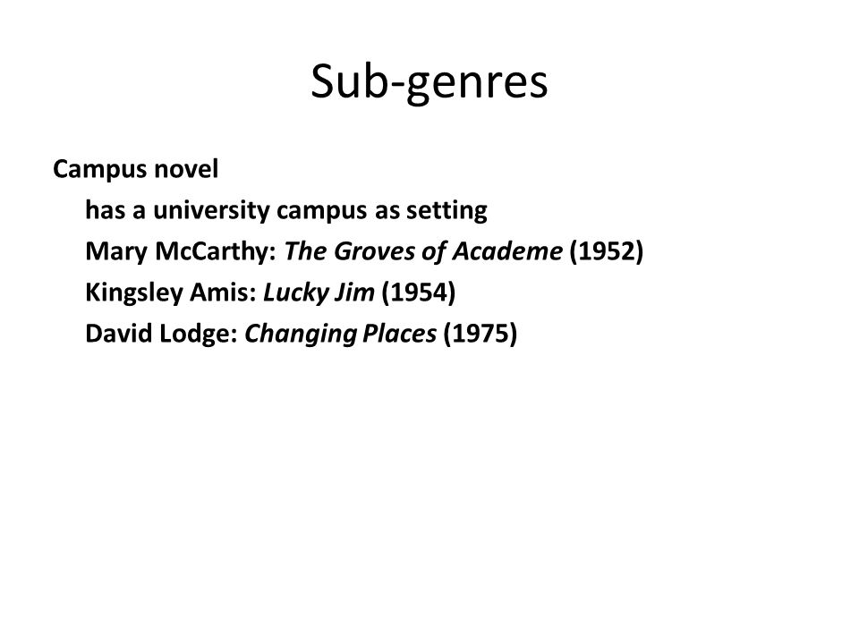 Sub-genres Campus novel has a university campus as setting