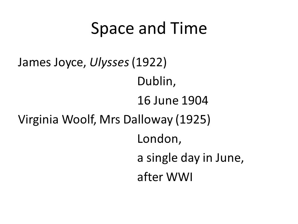 Space and Time James Joyce, Ulysses (1922) Dublin, 16 June 1904