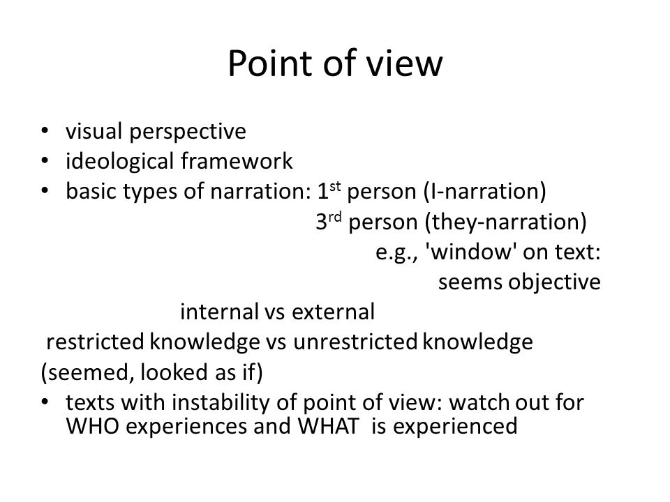 Point of view visual perspective ideological framework