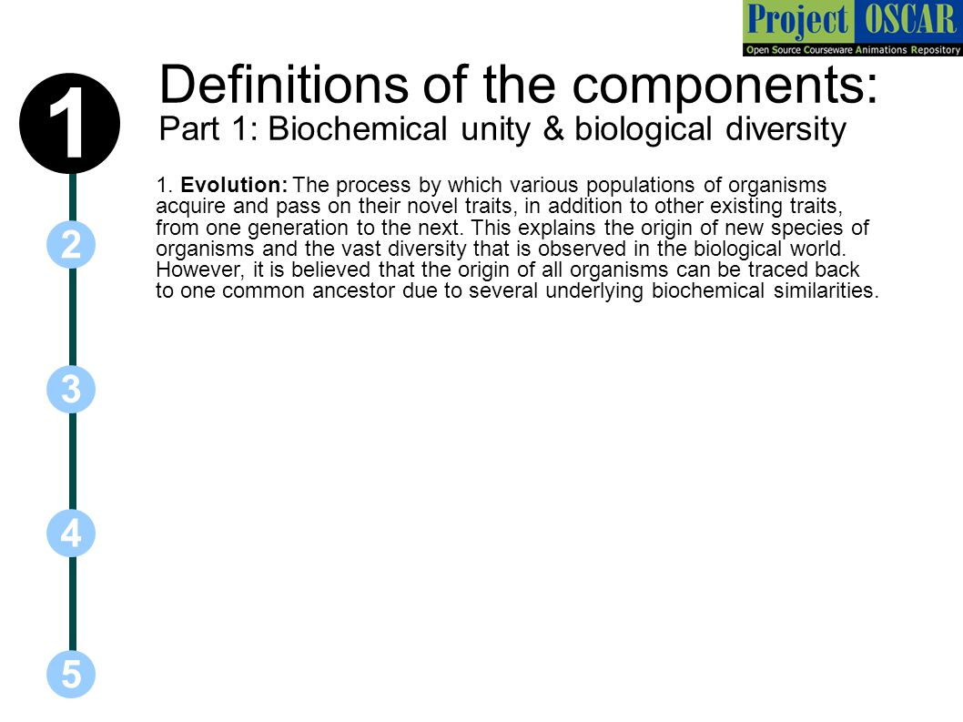 Definitions of the components: Part 1: Biochemical unity & biological diversity