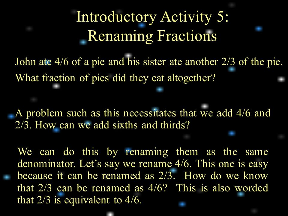 Introductory Activity 5: Renaming Fractions