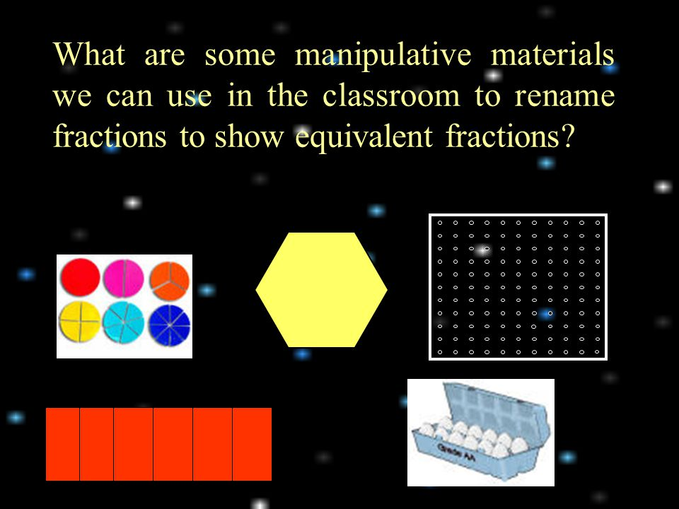What are some manipulative materials we can use in the classroom to rename fractions to show equivalent fractions