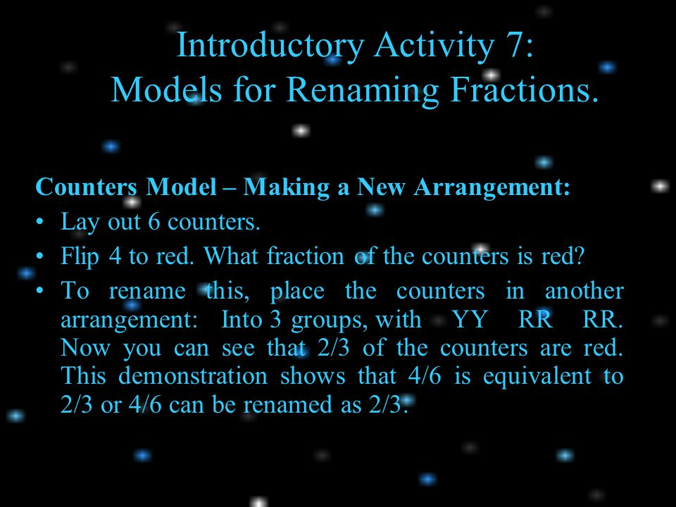 Introductory Activity 7: Models for Renaming Fractions.
