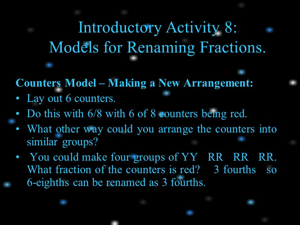 Introductory Activity 8: Models for Renaming Fractions.