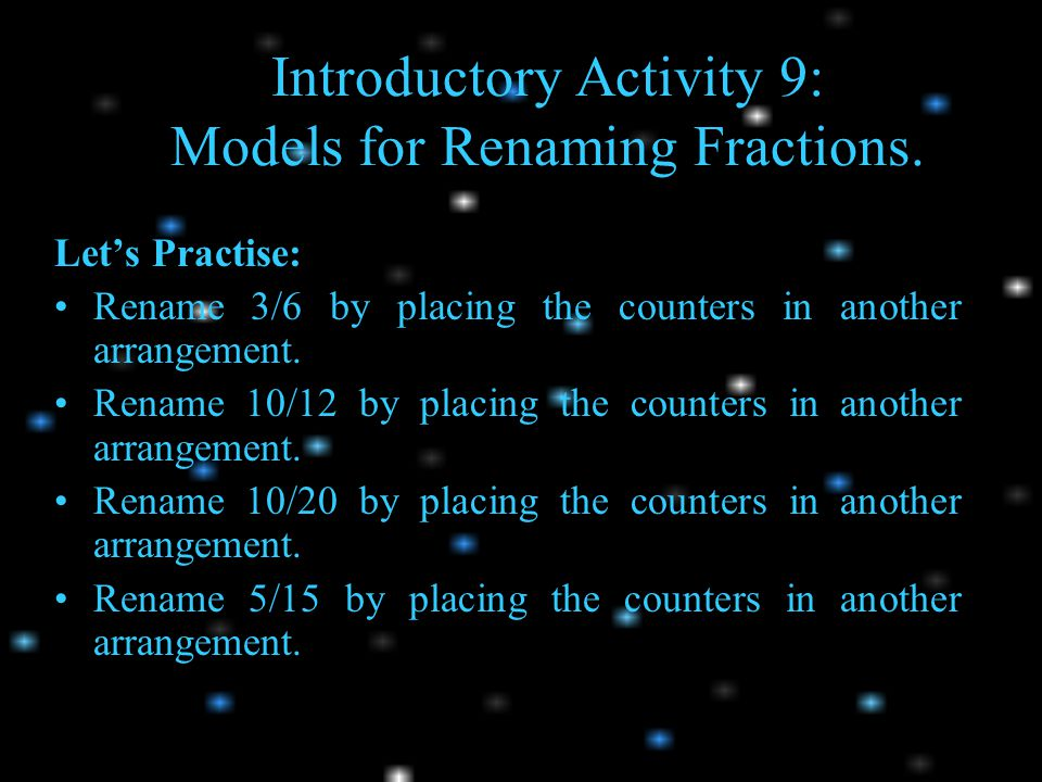 Introductory Activity 9: Models for Renaming Fractions.
