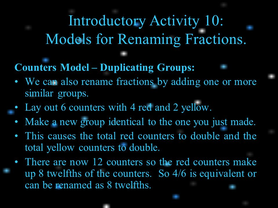 Introductory Activity 10: Models for Renaming Fractions.