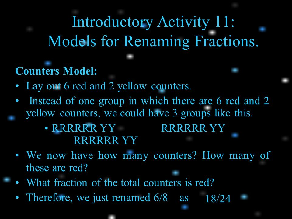 Introductory Activity 11: Models for Renaming Fractions.