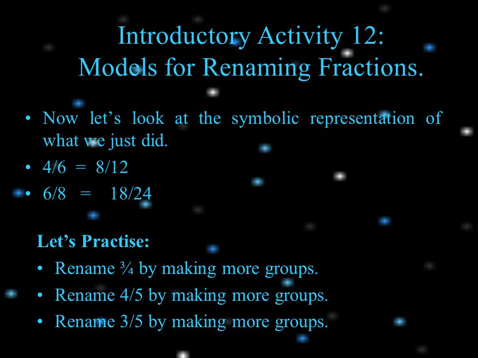 Introductory Activity 12: Models for Renaming Fractions.