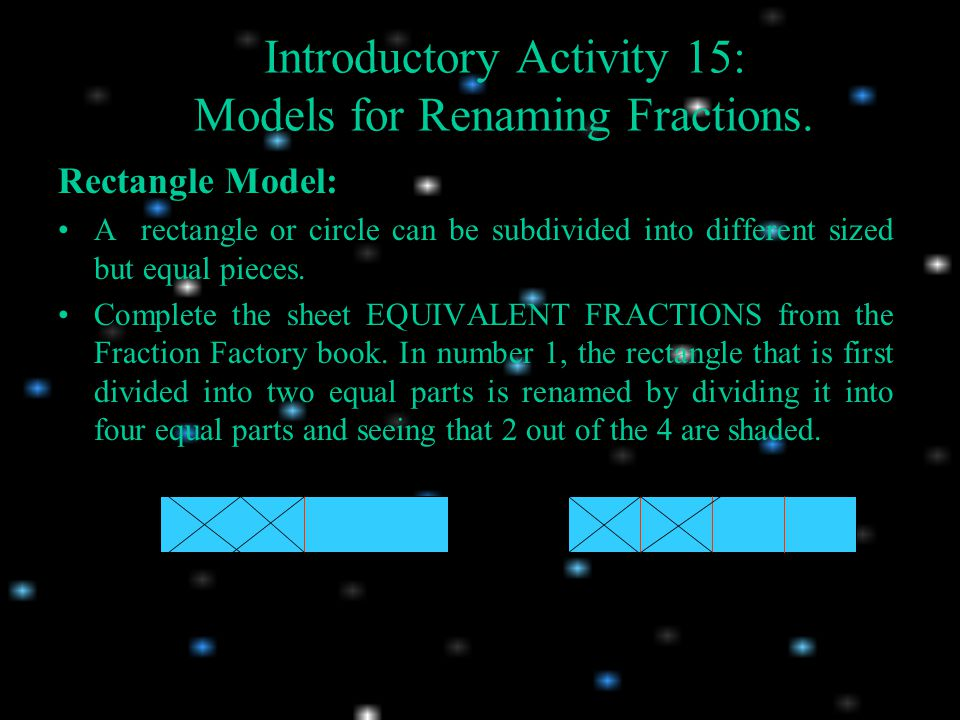 Introductory Activity 15: Models for Renaming Fractions.