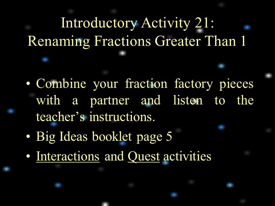 Introductory Activity 21: Renaming Fractions Greater Than 1