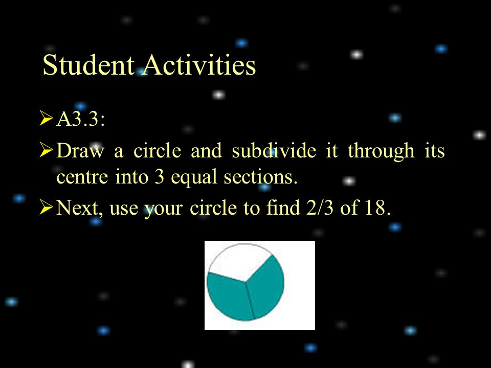 Student Activities A3.3: Draw a circle and subdivide it through its centre into 3 equal sections.