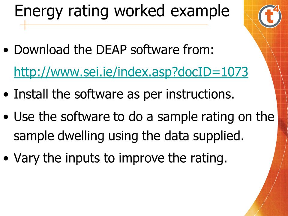 Energy rating worked example