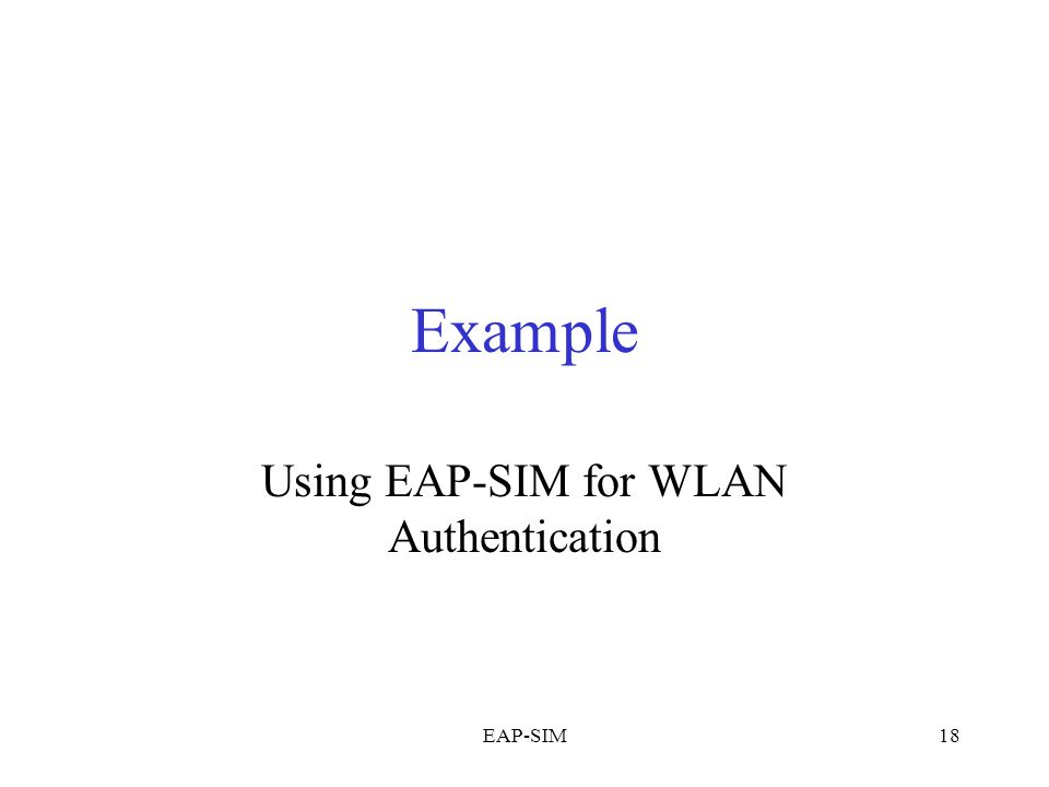 Using EAP-SIM for WLAN Authentication