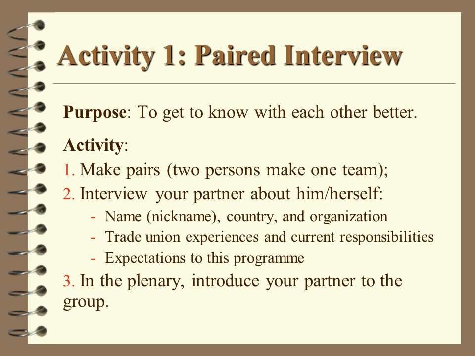 Activity 1: Paired Interview