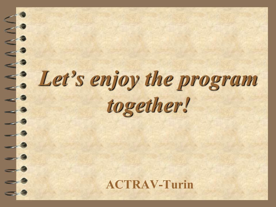 Let's enjoy the program together!