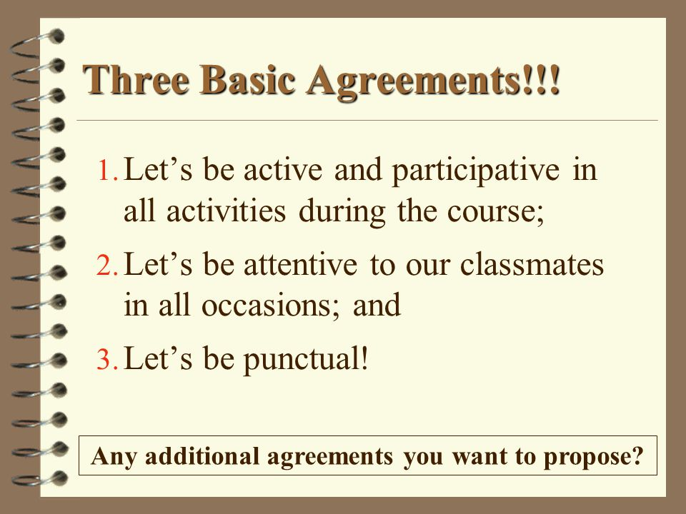 Three Basic Agreements!!!