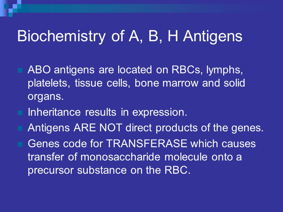 Biochemistry of A, B, H Antigens