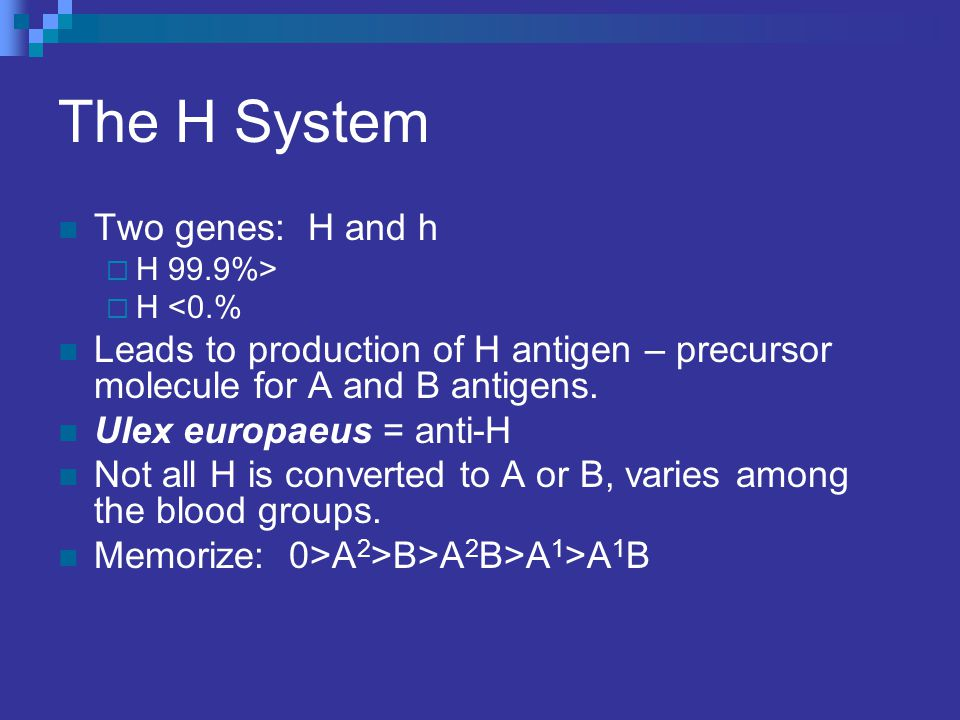 The H System Two genes: H and h