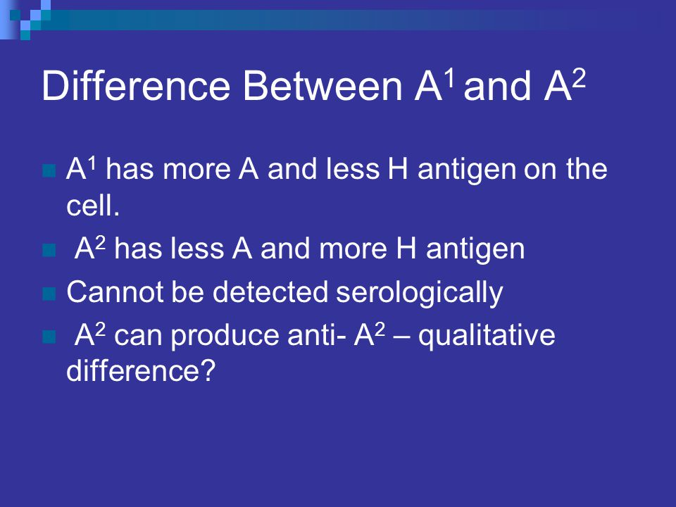 Difference Between A1 and A2
