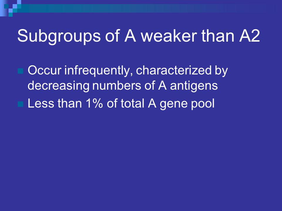 Subgroups of A weaker than A2