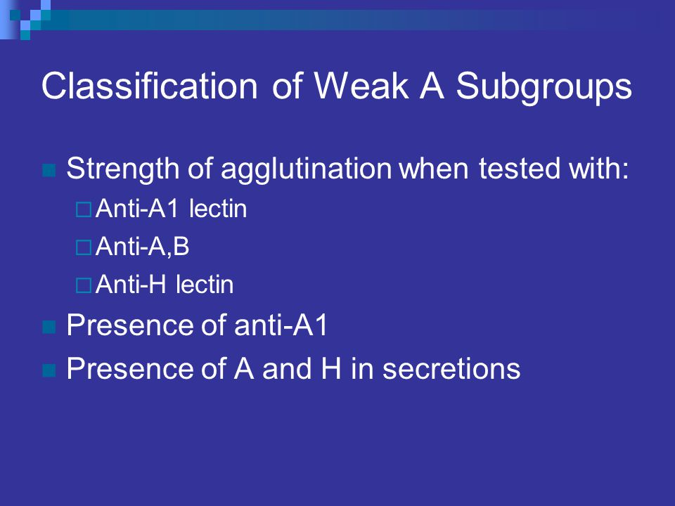 Classification of Weak A Subgroups