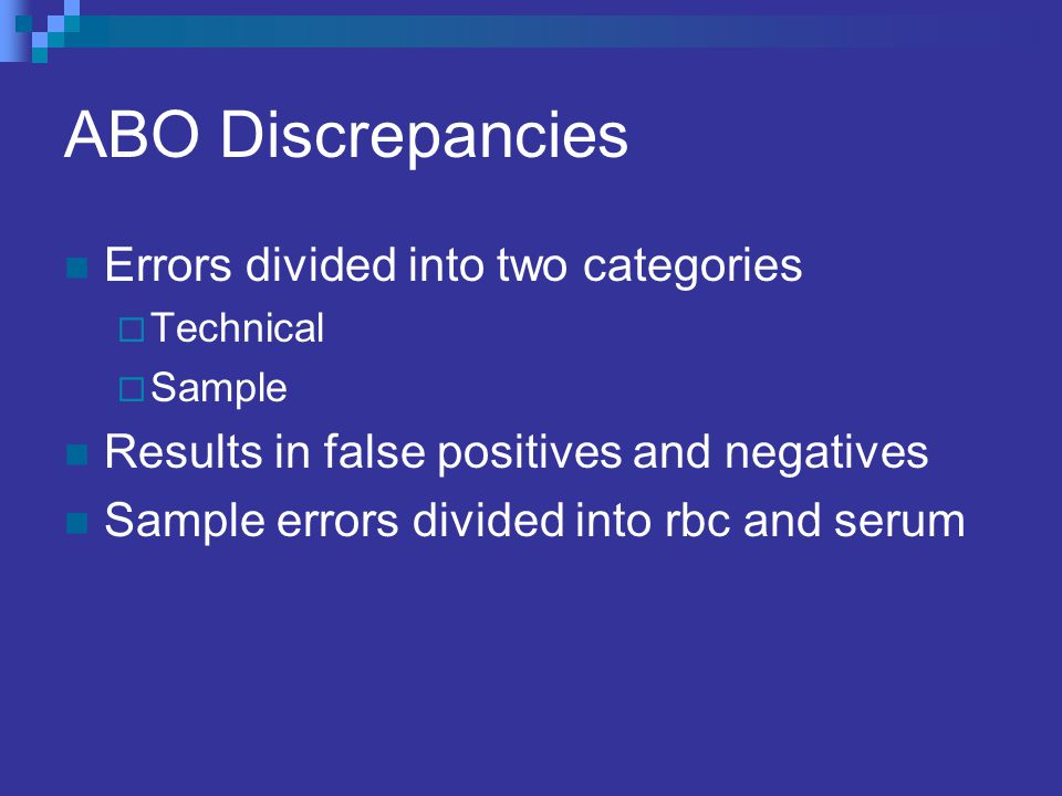 ABO Discrepancies Errors divided into two categories