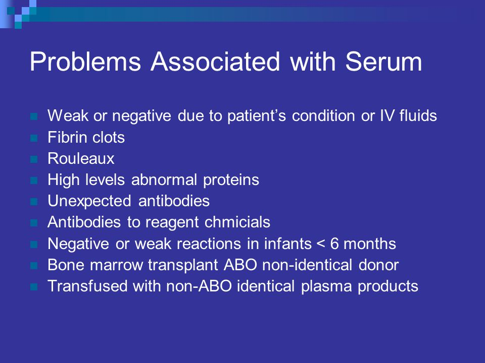 Problems Associated with Serum