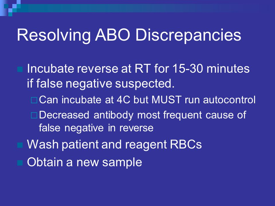 Resolving ABO Discrepancies