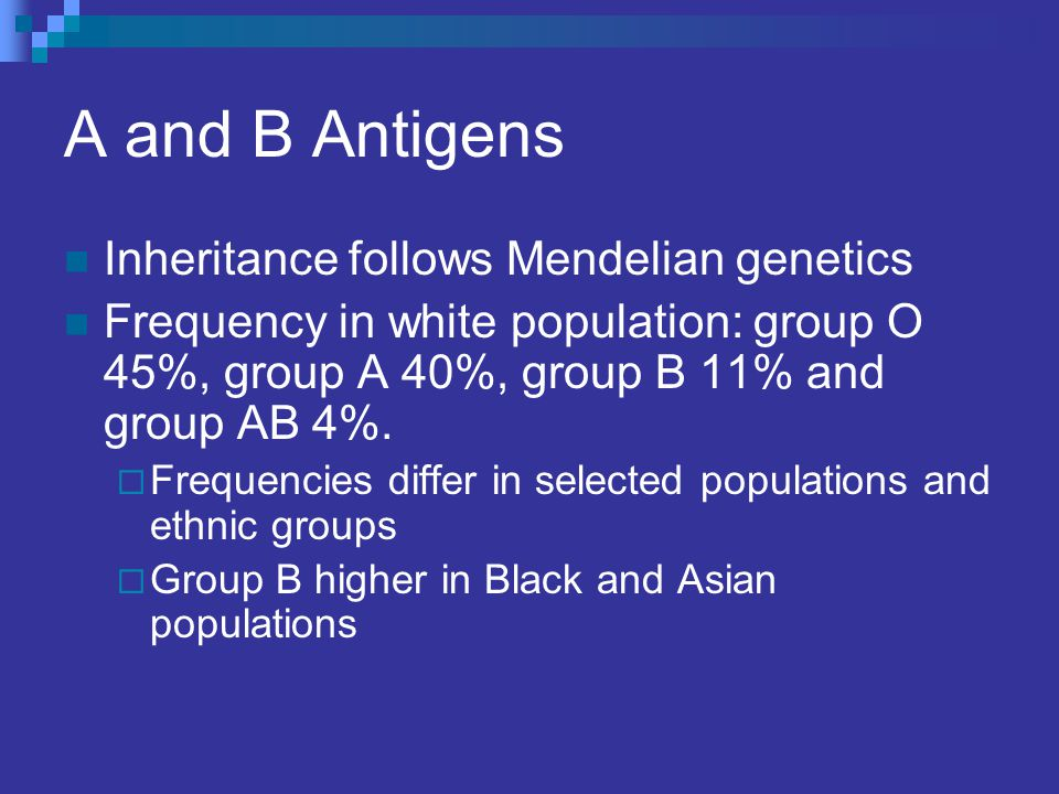A and B Antigens Inheritance follows Mendelian genetics