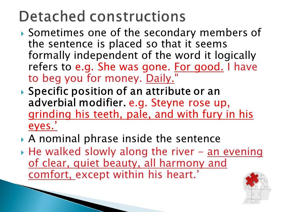 Detached constructions