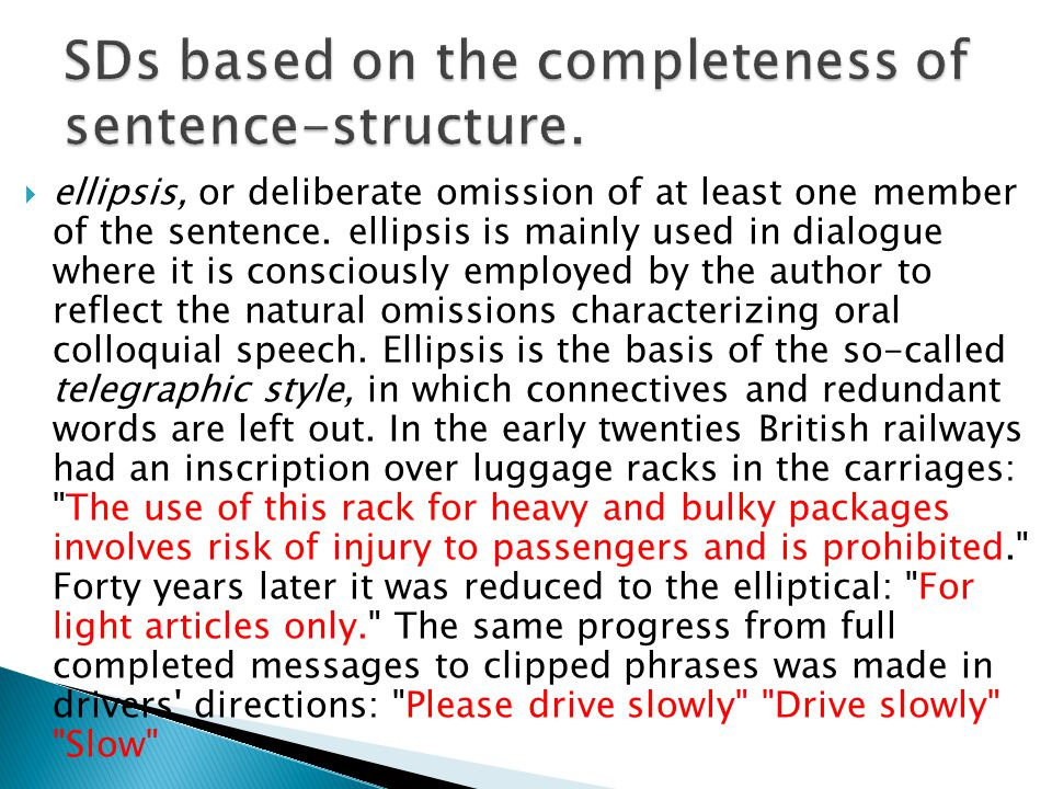 SDs based on the completeness of sentence-structure.