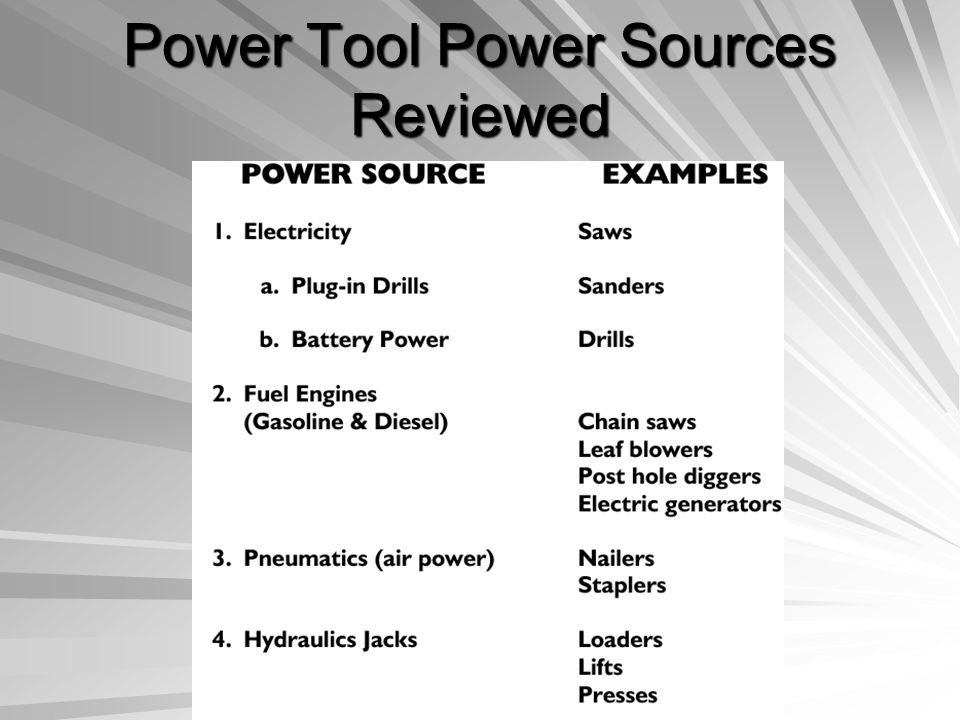Power Tool Power Sources Reviewed