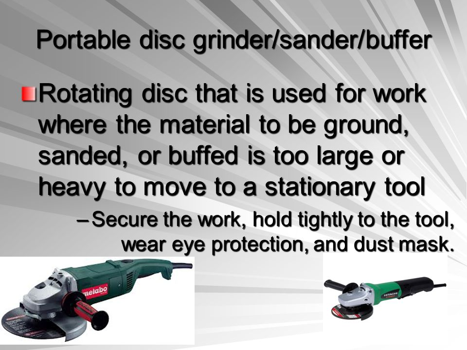 Portable disc grinder/sander/buffer