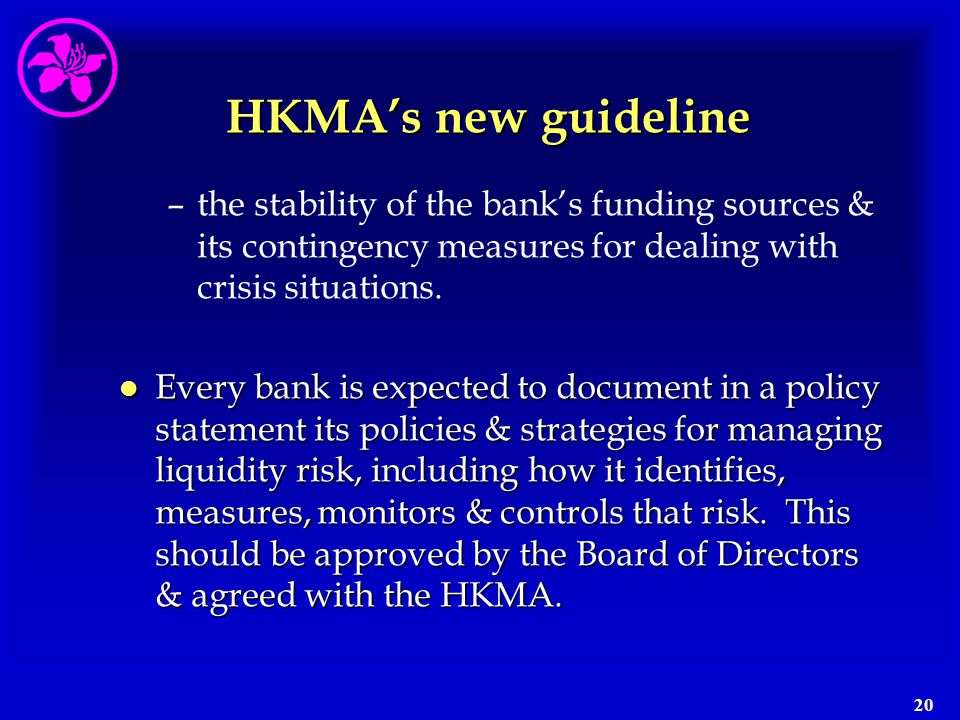 HKMA's new guideline the stability of the bank's funding sources & its contingency measures for dealing with crisis situations.