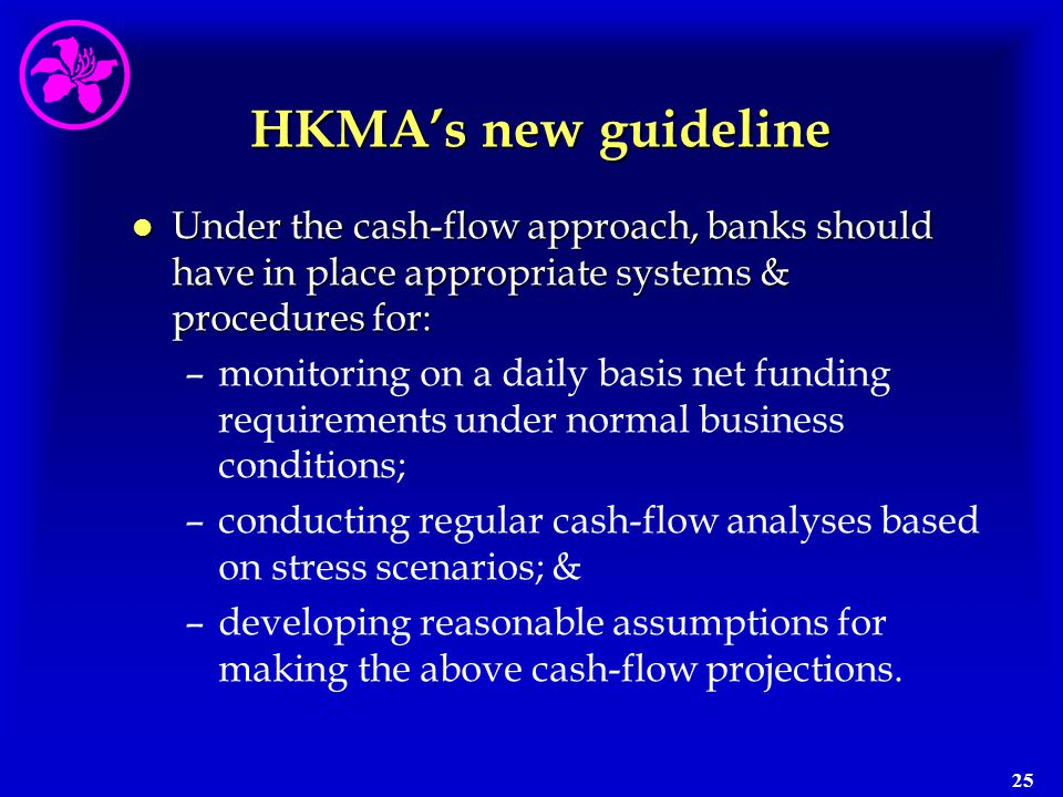 HKMA's new guideline Under the cash-flow approach, banks should have in place appropriate systems & procedures for: